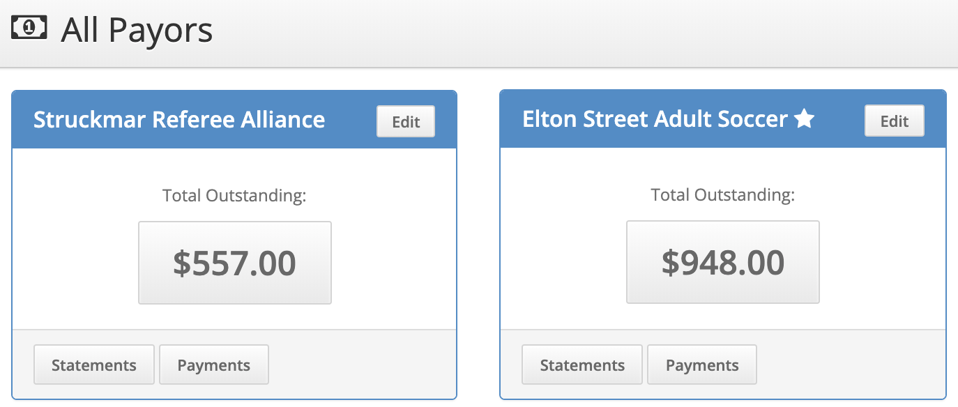 Screenshot showing multiple payors and amounts due.