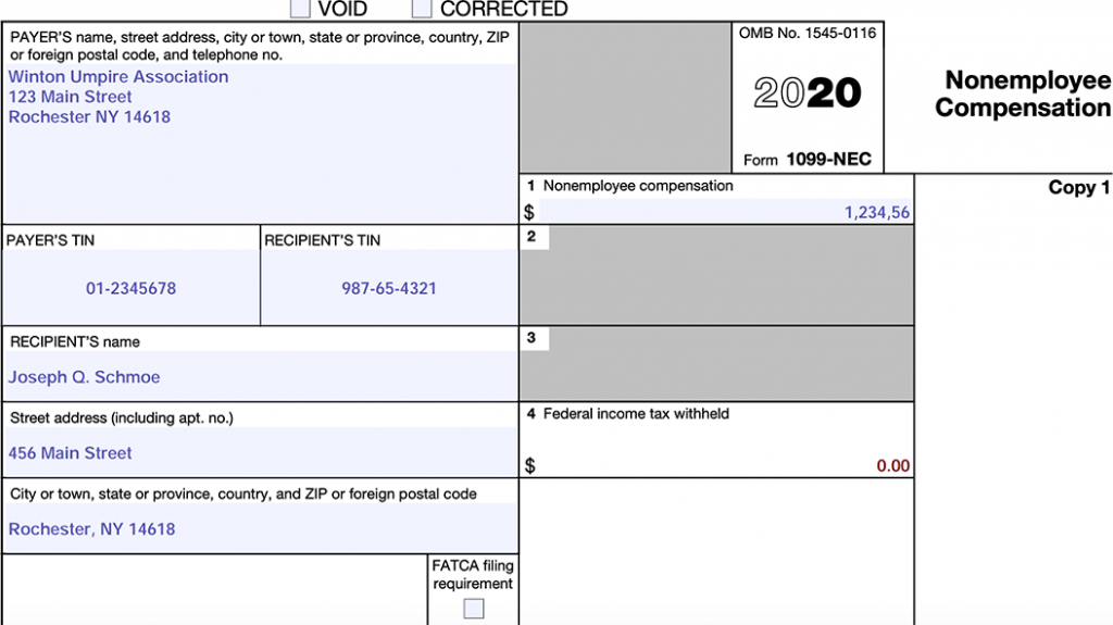 Example of IRS-1099 form